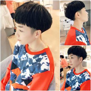 坊主 マッシュ ショート 黒髪 ヘアスタイルや髪型の写真・画像