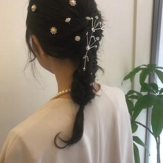 パーマ ヘアアレンジ フェミニン 結婚式 ヘアスタイルや髪型の写真・画像