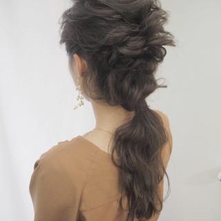 編み込み ロング デート 結婚式 ヘアスタイルや髪型の写真・画像