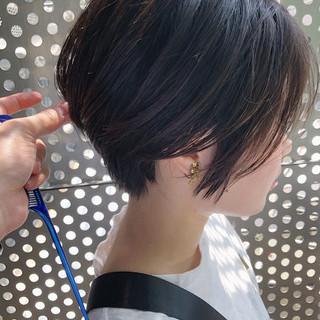 黒髪 パーマ ショート ヘアアレンジ ヘアスタイルや髪型の写真・画像