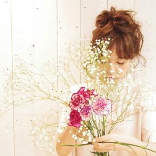 フェミニン ゆるふわ ガーリー ヘアアレンジ ヘアスタイルや髪型の写真・画像