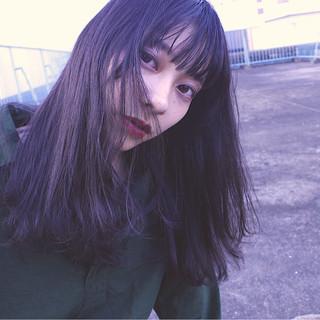 暗髪 アッシュ 黒髪 グレージュ ヘアスタイルや髪型の写真・画像