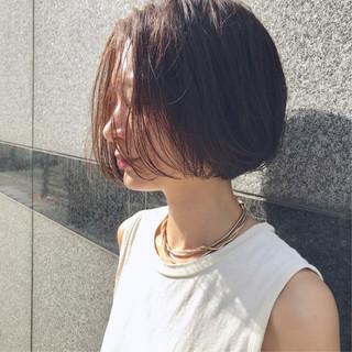 抜け感 透明感カラー ショートボブ ナチュラル ヘアスタイルや髪型の写真・画像