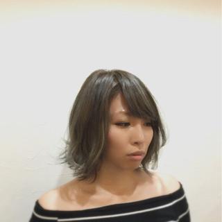 外国人風カラー アッシュ モード ボブ ヘアスタイルや髪型の写真・画像