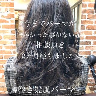 パーマ デート ゆるふわパーマ ロング ヘアスタイルや髪型の写真・画像