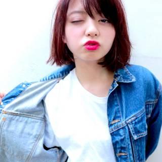 外国人風カラー ストリート ウェットヘア ボブ ヘアスタイルや髪型の写真・画像