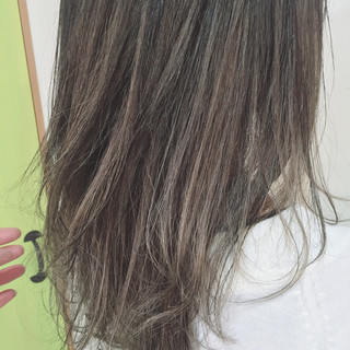 夏 アッシュ セミロング ヘアアレンジ ヘアスタイルや髪型の写真・画像
