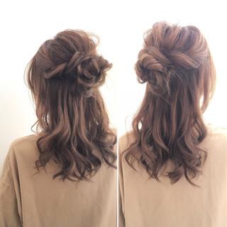 簡単ヘアアレンジ ゆるふわ ショート ヘアアレンジ ヘアスタイルや髪型の写真・画像
