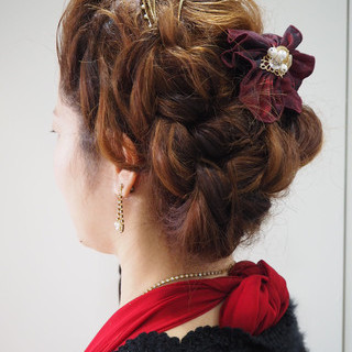 三つ編み 簡単ヘアアレンジ ヘアアレンジ ロング ヘアスタイルや髪型の写真・画像