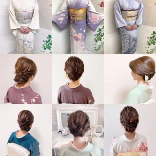 着物 結婚式ヘアアレンジ 結婚式 エレガント ヘアスタイルや髪型の写真・画像