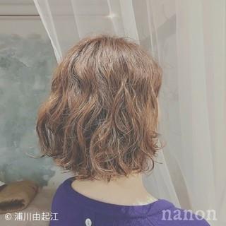 ゆるふわ ガーリー ボブ パーマ ヘアスタイルや髪型の写真・画像