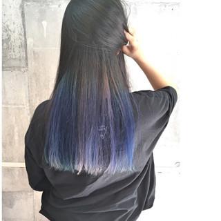 ストリート 外国人風カラー セミロング インナーカラー ヘアスタイルや髪型の写真・画像