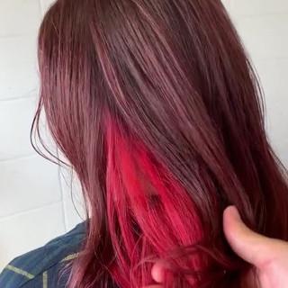 ブリーチカラー インナーカラー ピンク デザインカラー ヘアスタイルや髪型の写真・画像