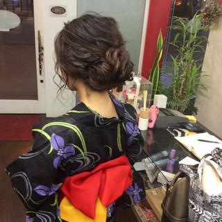 簡単ヘアアレンジ 浴衣ヘア ロング ヘアアレンジ ヘアスタイルや髪型の写真・画像