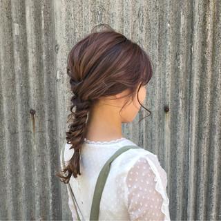 ロング ヘアアレンジ ガーリー ピンク ヘアスタイルや髪型の写真・画像