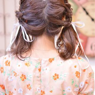 ガーリー かわいい ミディアム 簡単ヘアアレンジ ヘアスタイルや髪型の写真・画像