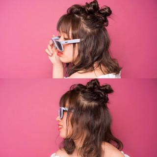 お団子 ハーフアップ 簡単ヘアアレンジ ヘアアレンジ ヘアスタイルや髪型の写真・画像
