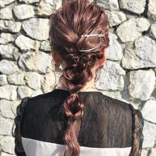 結婚式ヘアアレンジ セルフヘアアレンジ ヘアアレンジ 編みおろしヘア ヘアスタイルや髪型の写真・画像