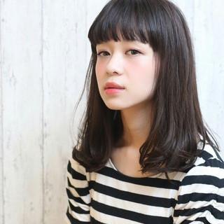 大人かわいい 黒髪 ミディアム 暗髪 ヘアスタイルや髪型の写真・画像