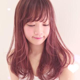 ピンク ラベンダー ミディアム おフェロ ヘアスタイルや髪型の写真・画像