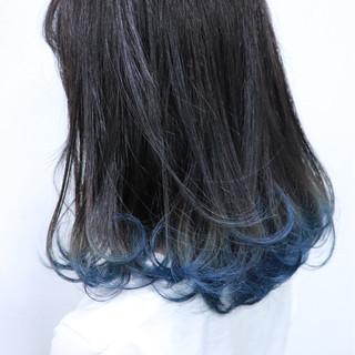 フェミニン グラデーションカラー ボブ ブルー ヘアスタイルや髪型の写真・画像