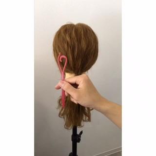 簡単ヘアアレンジ ショート 波ウェーブ ポニーテール ヘアスタイルや髪型の写真・画像