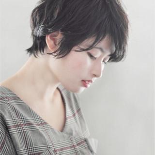 暗髪 ショート 黒髪 デート ヘアスタイルや髪型の写真・画像