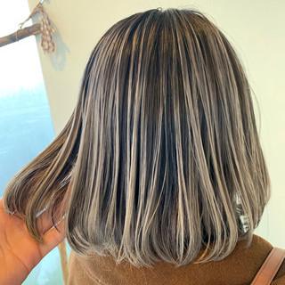 切りっぱなしボブ ショートヘア バレイヤージュ ボブ ヘアスタイルや髪型の写真・画像
