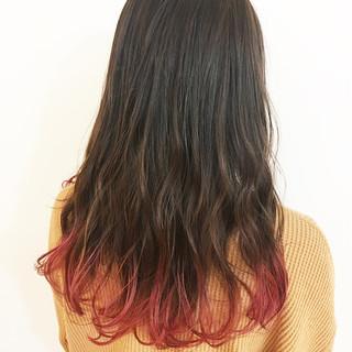 デザインカラー 裾カラー ナチュラル ピンク ヘアスタイルや髪型の写真・画像