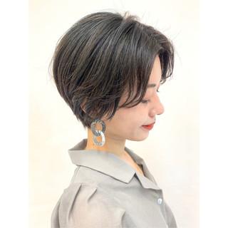 モード 横顔美人 小顔ショート ショート ヘアスタイルや髪型の写真・画像