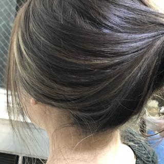 セミロング ハイライト ヘアアレンジ グレージュ ヘアスタイルや髪型の写真・画像