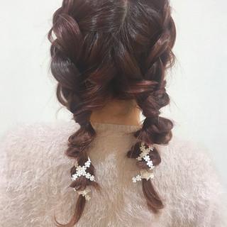 ヘアアレンジ 簡単ヘアアレンジ デート 編み込み ヘアスタイルや髪型の写真・画像