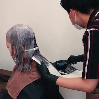 裾カラー ブリーチカラー インナーカラー ショートボブ ヘアスタイルや髪型の写真・画像