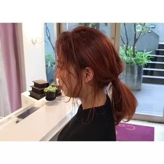 オレンジカラー ナチュラル オレンジブラウン アプリコットオレンジ ヘアスタイルや髪型の写真・画像