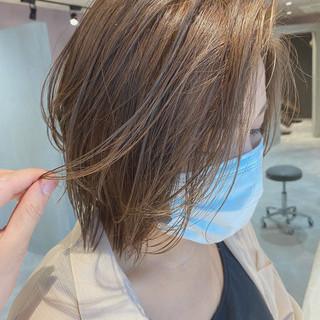 グレージュ ナチュラル ミルクティーグレージュ モテボブ ヘアスタイルや髪型の写真・画像