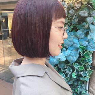 ミニボブ ツヤ髪 伸ばしかけ 切りっぱなしボブ ヘアスタイルや髪型の写真・画像