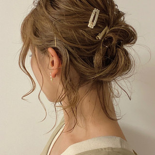 ヘアアレンジ 簡単ヘアアレンジ アップ アップスタイル ヘアスタイルや髪型の写真・画像