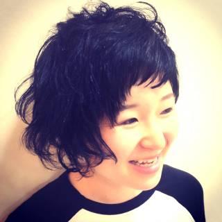 ガーリー ショート 黒髪 ストリート ヘアスタイルや髪型の写真・画像