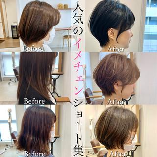 ショートヘア ナチュラル ベリーショート インナーカラー ヘアスタイルや髪型の写真・画像