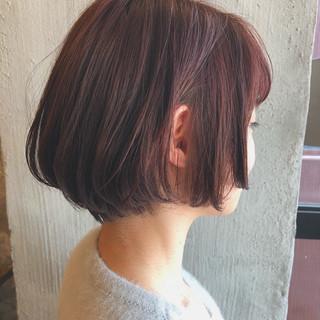 ピンク ナチュラル 透明感 ボブ ヘアスタイルや髪型の写真・画像