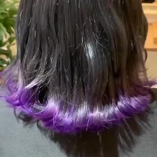 暗髪 裾カラー ストリート ミディアム ヘアスタイルや髪型の写真・画像