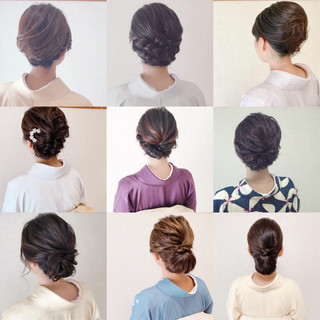 ミディアム 結婚式ヘアアレンジ エレガント お呼ばれ ヘアスタイルや髪型の写真・画像