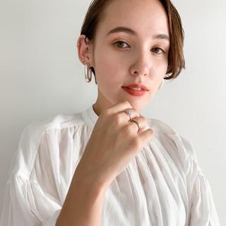 ハンサムショート 小顔ショート 透明感カラー ナチュラル ヘアスタイルや髪型の写真・画像