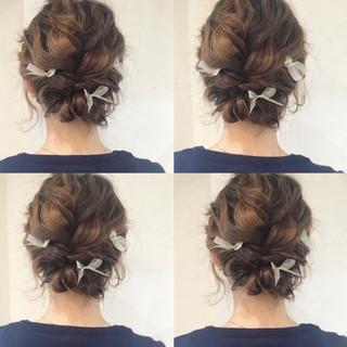 ハイライト 結婚式 ヘアアレンジ ミディアム ヘアスタイルや髪型の写真・画像