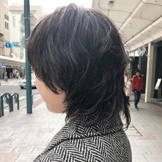 モード ニュアンスウルフ ウルフカット ミディアム ヘアスタイルや髪型の写真・画像