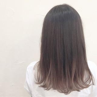 グラデーションカラー ミディアム アッシュ ハイライト ヘアスタイルや髪型の写真・画像