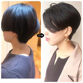 ショートボブ ショート モード 黒髪 ヘアスタイルや髪型の写真・画像