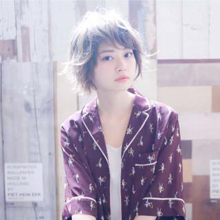 前髪 ハイトーン ショートボブ ショート ヘアスタイルや髪型の写真・画像