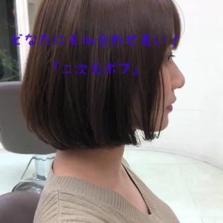 透明感カラー グレージュ ミニボブ フェミニン ヘアスタイルや髪型の写真・画像