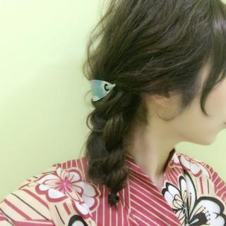 ミディアム 和装 三つ編み まとめ髪 ヘアスタイルや髪型の写真・画像